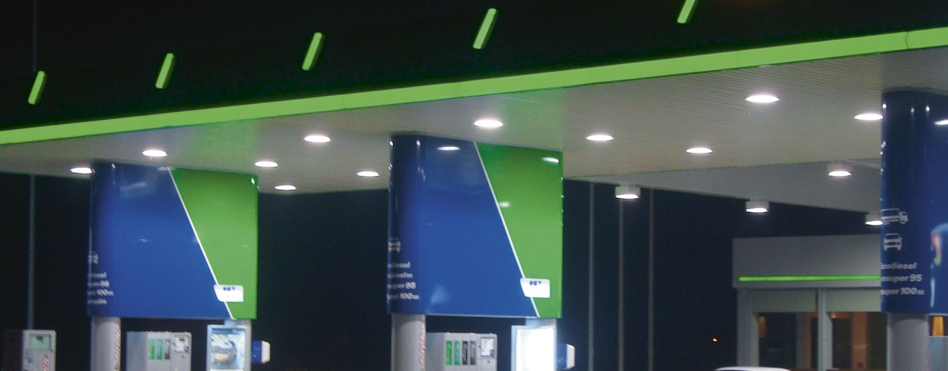 Plastic profiles illuminated advertising petrol stations