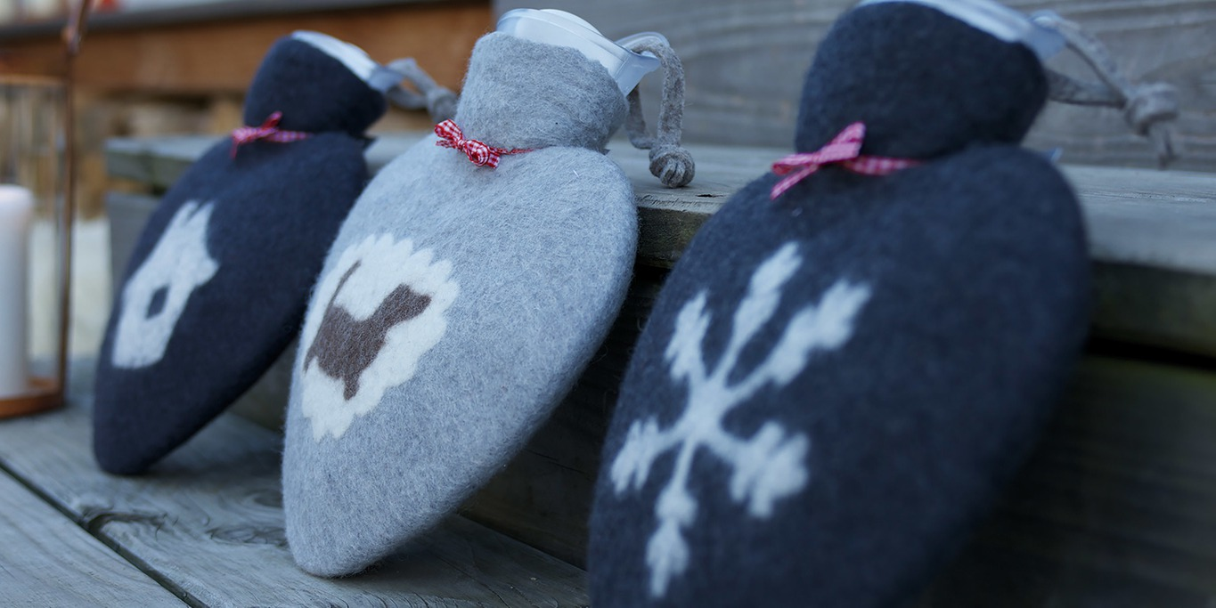 wool felt hot water bottle with design